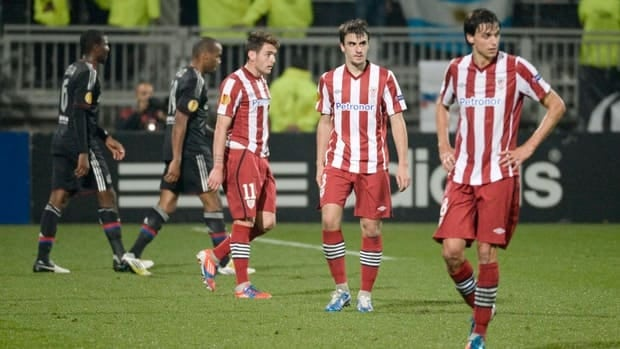Members of Spanish squad AC Bilbao, seen here after a 2-1 loss to Lyon in an UEFA Europa League match on October 25, 2012, are struggling in Copa del Rey play.