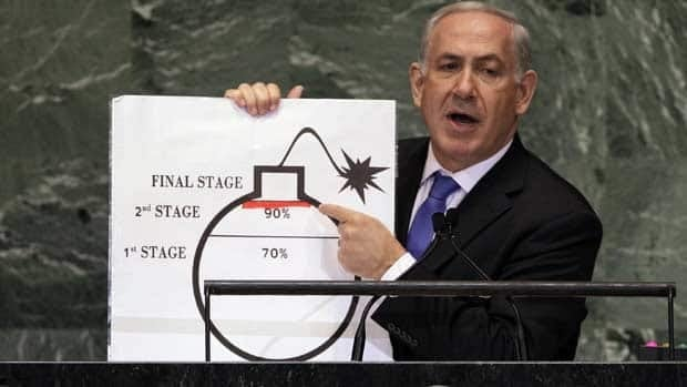Prime Minister Benjamin Netanyahu of Israel shows an illustration as he describes his concerns over Iran's nuclear ambitions during his address to the 67th session of the United Nations General Assembly at U.N. headquarters Thursday.