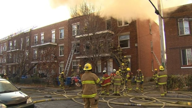 A fire in Verdun has destroyed a three-storey apartment building, firefighters say.