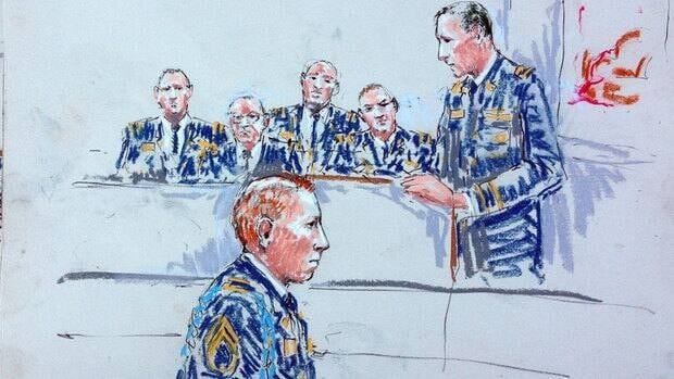 In this courtroom sketch Staff Sgt. Robert Bales, foreground speaks to the jury during a sentencing hearing in the slayings of 16 Afghan civilians in last March. A military jury on Friday sentenced Bales to life in prison without a chance of parole.