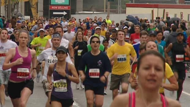 Runners partake in Sunday's 10-kilometre race down Yonge Street, the biggest road race in the province.