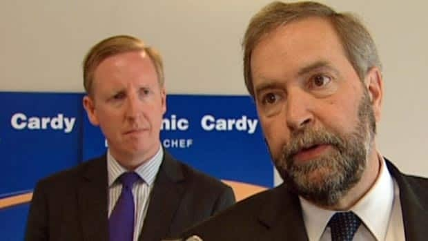 Federal NDP Leader Tom Mulcair campaigned for Dominic Cardy on Sunday. The provincial NDP leader is trying to win a seat in the Rothesay byelection.