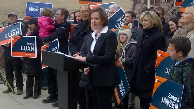 Progressive Conservative Leader Alison Redford made her school announcement in Calgary on Wednesday.