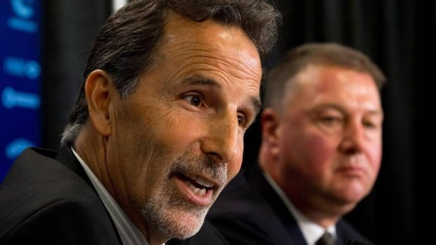 Vancouver Canucks head coach John Tortorella, left, and general manager Mike Gillis, discussed the team's plans heading into the 2013-14 season Tuesday at Rogers Arena.