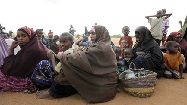 People fleeing war zones often end up in refugee camps, like these Somalis in northern Kenya.