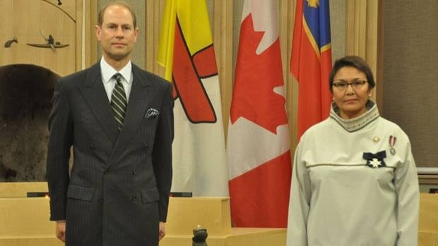 His Royal Highness Prince Edward, The Earl of Wessex and Nunavut Commissioner Edna Elias in Iqaluit today.
