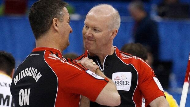 Ontario skip Glenn Howard, right, celebrates his team's win with third Wayne Middaugh after defeating Manitoba at the Tim Hortons Brier in Saskatoon on Friday.