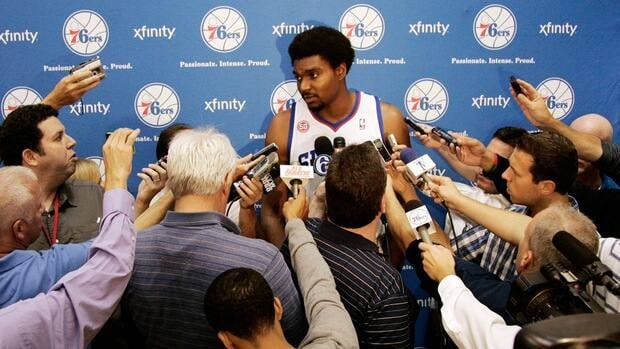 Philadelphia 76ers' Andrew Bynum, shown in this October 2012 file photo, may not play in a game until January due to a bone bruise.