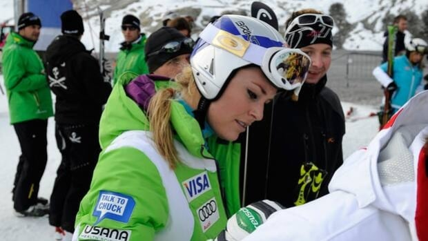 Lindsey Vonn signs an autograph for a fan during Friday's training session in Soelden, Austria.