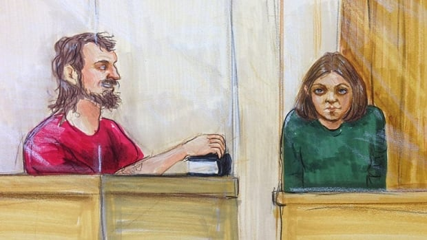 John Nuttall and Amanda Korody, seen in an artist's sketch from an earlier court appearance. (CBC)