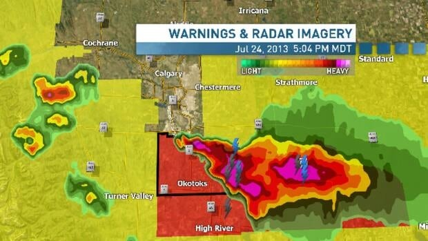 A severe thunderstorm near Okotoks, Alta., has reportedly caused a tornado, but the warning for the area has been lifted.