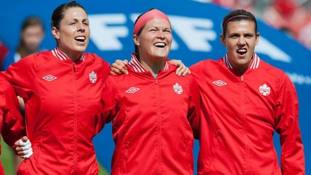 Canada's Christine Sinclair, right, Erin McLeod, centre, and Emily Zurrer, left, were part of the squad that lost to the U.S. in the 2012 Olympic semifinals.