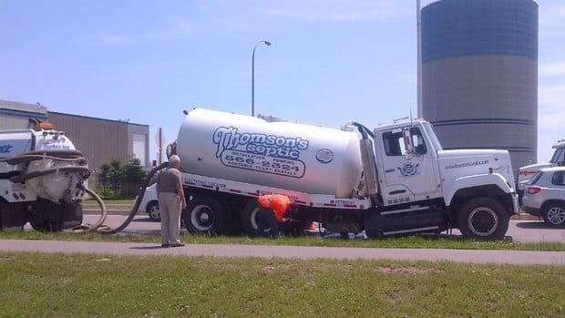 The axle on the sewage truck broke, but fortunately there was little spilled in the accident.