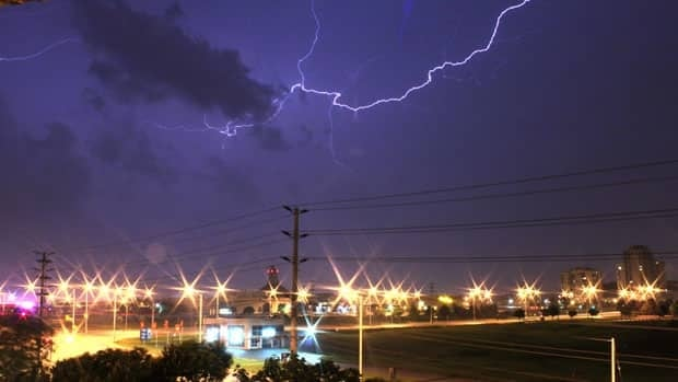 Lightning strikes in the skies above Mississauga, Ont., last night en route to Hamilton.