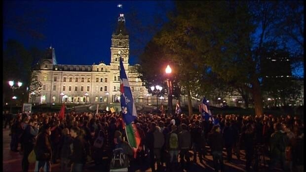 Students protested against planned tuition fee hikes in front of Quebec's national assembly during what became known as the 'Maple Spring' in 2012.