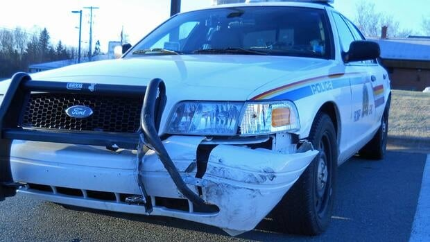 The police said this vehicle was hit while trying to stop a stolen car.