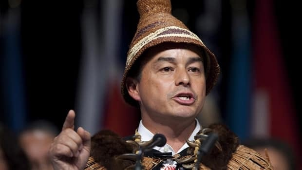 Shawn Atleo speaks after being re-elected as national chief of the Assembly of First Nations in Toronto on Wednesday following three rounds of ballots.