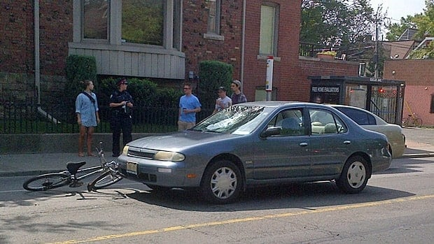 A cyclist suffered serious injuries after he was struck by a car in Little Italy.