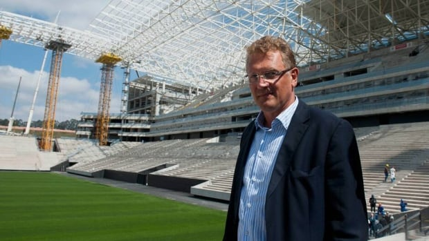 FIFA Secretary General Jerome Valcke visits the Itaquerao Stadium, in Sao Paulo on August 19, 2013.