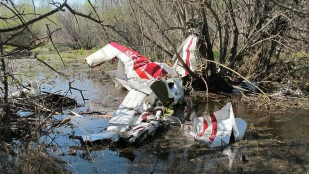 Much of the plane wreckage landed in watery areas, TSB officials say.