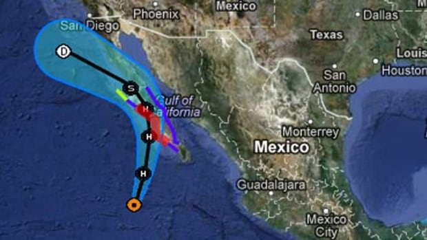 This map from the U.S. National Hurricane Center website shows Hurricane Paul's potential track over the next three days.