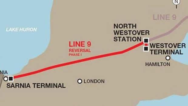 This National Energy Board map shows where Line 9 runs through Hamilton.