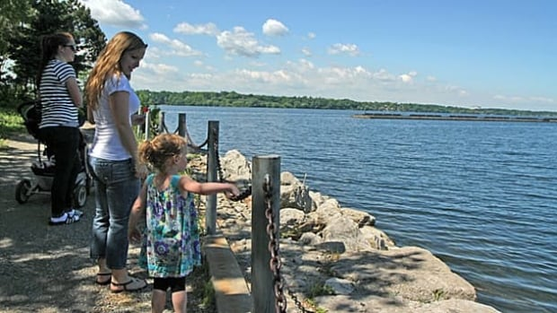 Two-year-old Riley Laing-Howard joined Jessica Laing (left) and Grace Howard take a walk along waterfront in Hamilton earlier this year. City council has pledged another $6 million to improve the harbour in the form of cleaning up Randle Reef, a large underwater contamination site.