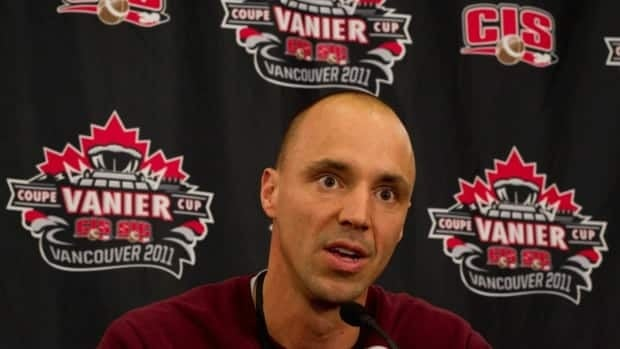 McMaster University Marauders' head coach Stefan Ptaszek speaks during a news conference days before the 2011 Vanier Cup in Vancouver, B.C. Ptaszek was named CIS coach of the year Wednesday night at the All-Canadian Awards Banquet.