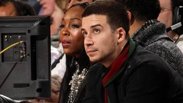 Vinny Guadagnino, cast member on MTV's Jersey Shore, watches the game action between the Milwaukee Bucks and New York Knicks on Jan. 20.