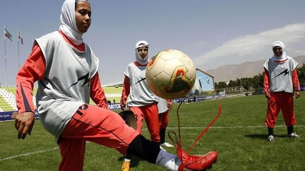 Members of the Iranian women's national soccer team practise during a training session in Tehran.