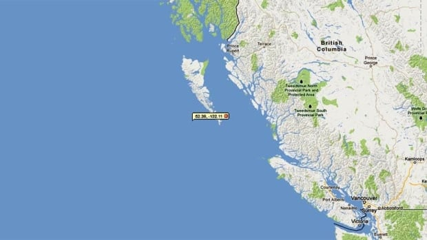 Monday night's quake was located just off the southwest coast of the Haida Gwaii island chain.