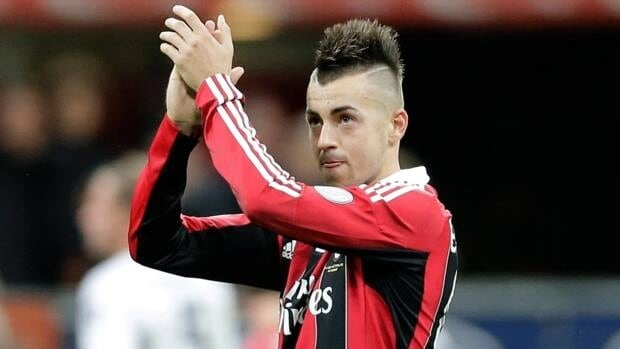 AC Milan forward Stephan El Shaarawy reacts at the end of the Serie A soccer match between AC Milan and Genoa at the San Siro stadium in Milan, Italy on Saturday. Milan won 1 - 0 and El Shaarawy scored the winning goal against his former team.