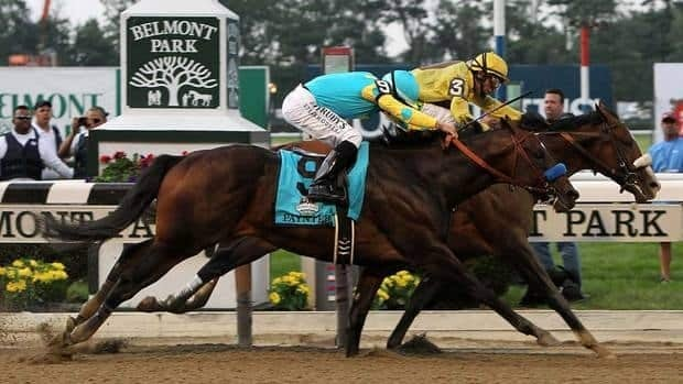 Union Rags, ridden by John Velazquez, narrowly beats Paynter, ridden by Mike Smith, during the 144th running of the Belmont Stakes in New York on Saturday.