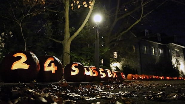 Carved pumpkins await trick or treaters at Prime Minister Stephen Harper's official residence in Ottawa.