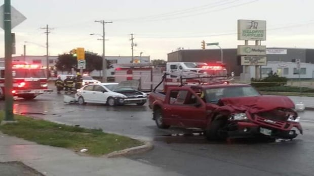 A 71-year-old woman died in a seven vehicle crash on McPhillips Street on Saturday afternoon. Katie Nicholson/CBC