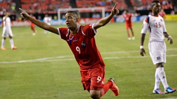 Panama's Gabriel Torres celebrates his second goal of the game against Cuba in their CONCACAF Gold Cup soccer match Saturday.