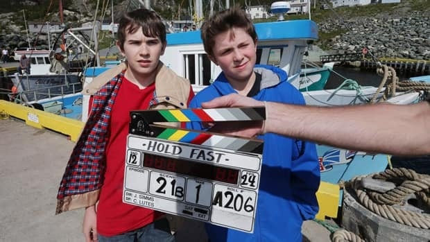 Douglas Sullivan, 12, right, and Avery Ash, 14, are shown on the set of Hold Fast in Bauline.