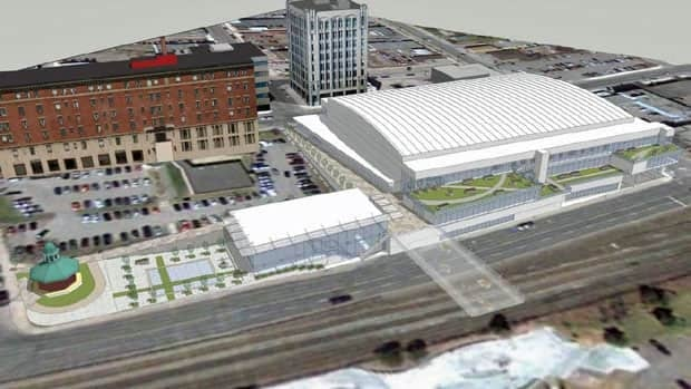 An aerial perspective looking west of a proposed events centre located at Thunder Bay's waterfront.