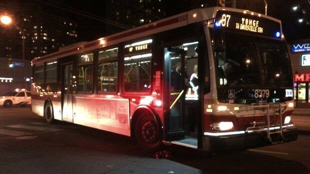 The bus was turning from Finch Avenue onto Yonge Streetwhen the accident happened.