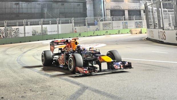 Red Bull driver Sebastian Vettel of Germany during Formula One's Singapore Grand Prix on September 23, 2012.