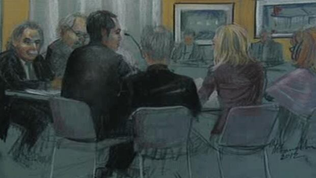 A sketch of former cardiologist Guy Turcotte appearing before a mental health review board Thursday. Turcotte was declared not criminally responsible after stabbing his two young children to death.