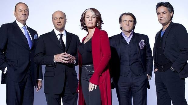 The cast of Dragons' Den includes, from left, Jim Treliving, Kevin O'Leary, Arlene Dickinson, Robert Herjavec and Bruce Croxon.