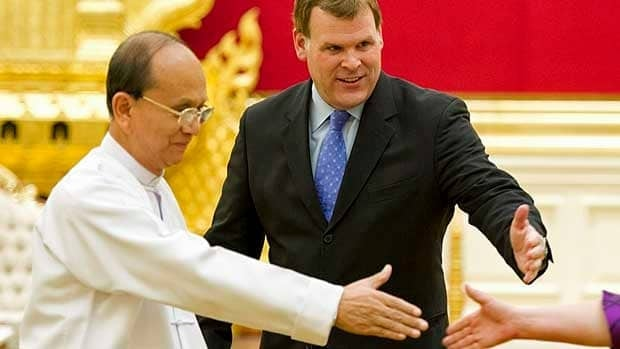 Foreign Affairs Minister John Baird meets Burmese President Thein Sein at the presidential palace in Naypyitaw in March. Baird said Friday that Canada will open an embassy in the country amid warming relations following democratic reforms.