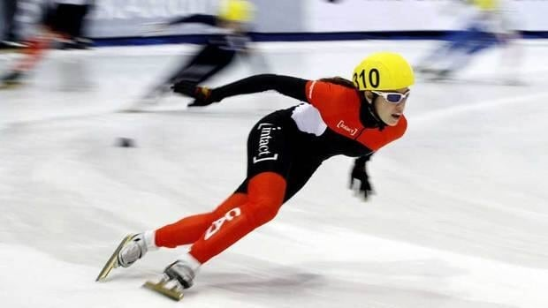 Valerie Maltais, of Canada, shown here competing at the short-track World Cup event in Utah last October, took home a bronze medal on Saturday.