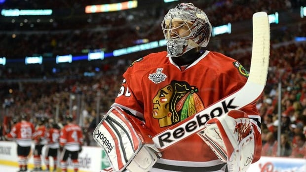 Corey Crawford posted a 1.84 goals-against average in 23 playoff games this year to help Chicago to the Stanley Cup title.