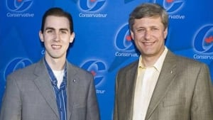 Michael Sona with Stephen Harper