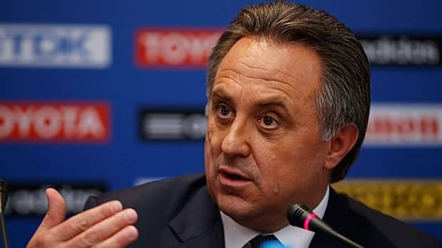 Russian sports minister Vitaly Mutko, seen speaking Thursday ahead of this weekend's IAAF athletics world championships, has seemingly made contradictory statements about the status of gays during the upcoming Winter Olympics in Sochi.