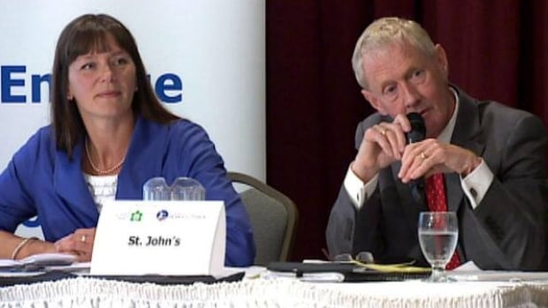 Sheilagh O'Leary and Dennis O'Keefe took part in a debate in St. John's on Tuesday night.