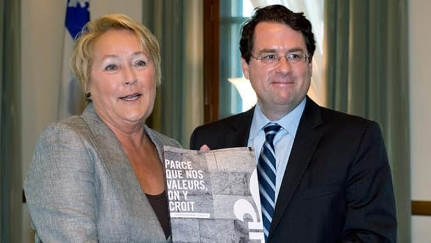Quebec Premier Pauline Marois introduced her government's proposal for a charter of Quebec values with her minister for democratic institutions, Bernard Drainville, on Sept. 10.