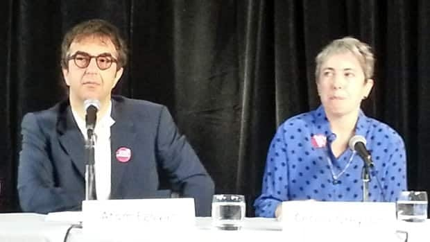Filmmaker Atom Egoyan and Cecila Greyson spoke at a news conference Tuesday, demanding that Canadians Tarek Loubani and John Greyson be released by the Egyptian government. The men have been held in Cairo since Aug. 16.